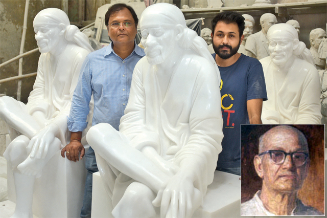The Talims have sculpted over 1,500 Saibaba idols of varying sizes over the last 80 years; (Inset) BV Talim, the man behind the original Saibaba idol at Shirdi