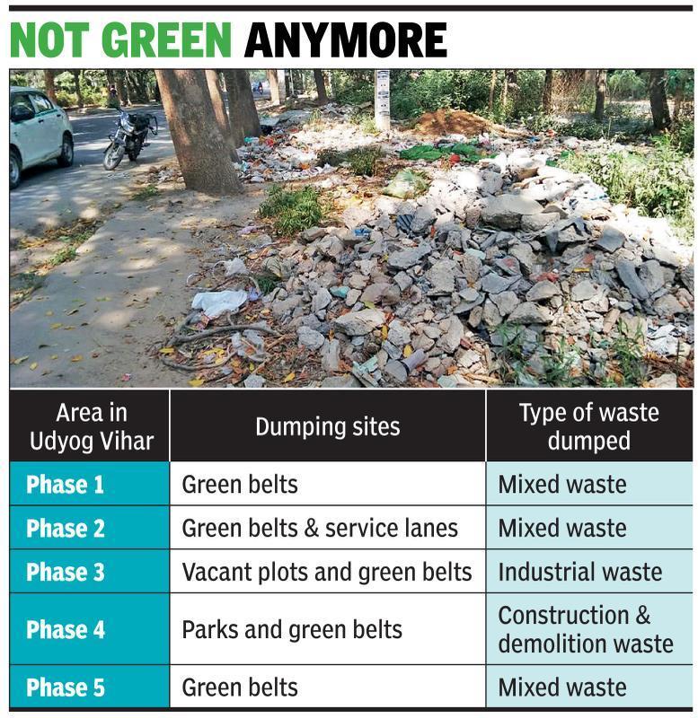 Udyog Vihar green belts turn dumping sites