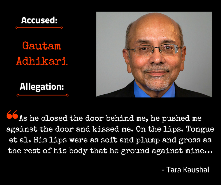Gautam Adhikari accused of harassment