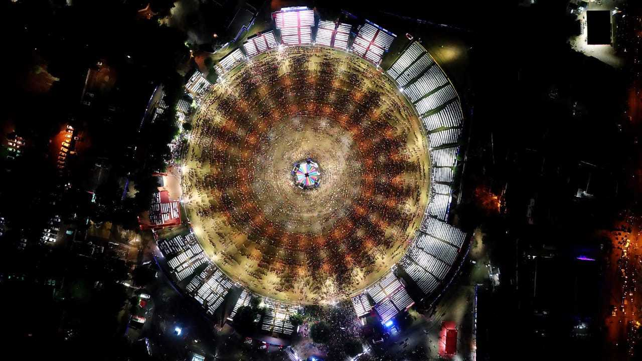 Look at the beautiful gathering for garba in Ahmedabad. Everyone is all set for non-stop fun and dance grooving to the foot tapping garba beats. Image:TNN