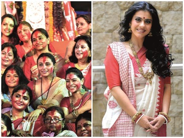(L-R) Rani Mukerji at the North Bombay Sarbojanin Durga Puja last year; Kajol in a traditional Bengali sari