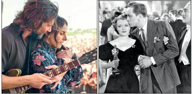 Stills from A Star is Born (2018) and its original version in 1937