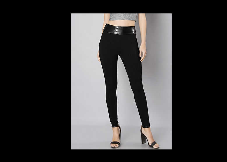 Black Leather Waistband Leggings by FabAlley