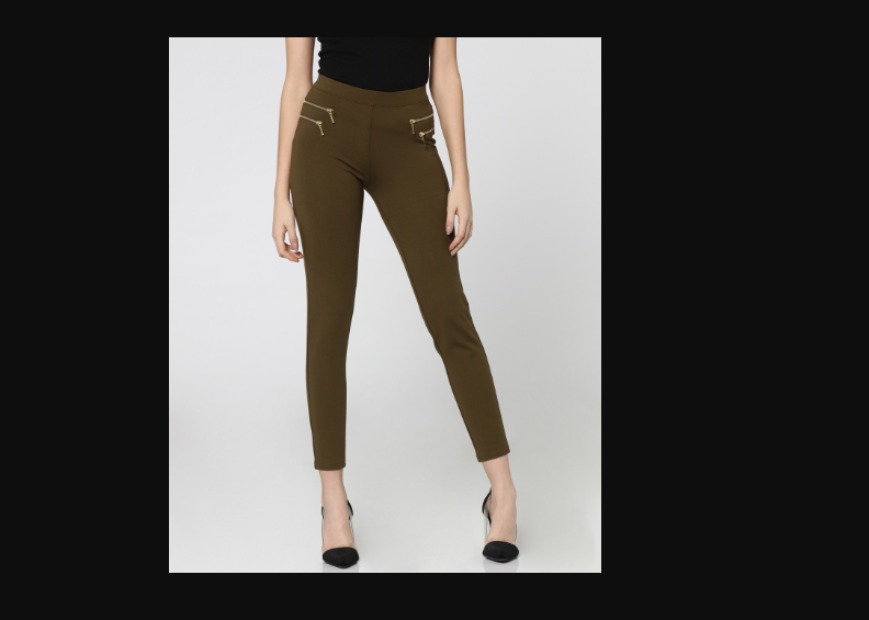 Olive Green Mid Rise Skinny Fit Zip Detail Leggings By ONLY