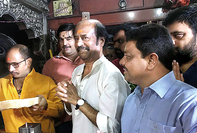 Rajinikanth offering prayers at Kaal Bhairav temple in Varanasi last week (BCCL)