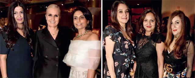(L) Maria Grazia Chiuri with Karishma and Monica; (R) Lyla Marker, Bindu Mittal and Laila Lamba