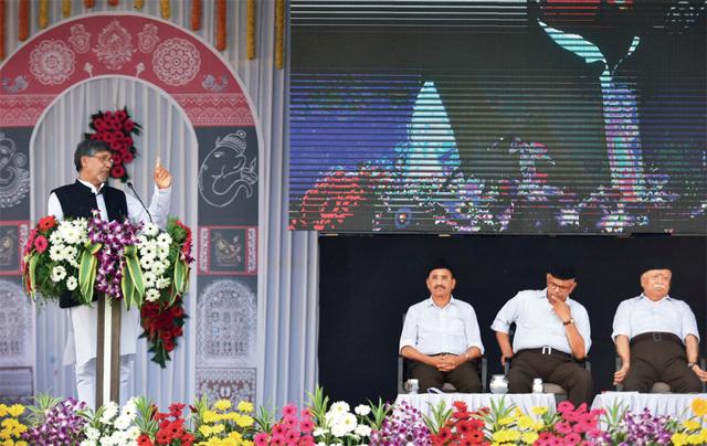 Nobel laureate Kailash Satyarthi addressing the gathering during the RSS' Vijayadashmi celebrations in Nagpur on October 18