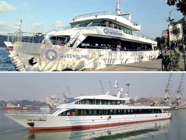 Queensline Sea-Yah and Queensline Neverland will be anchored about 2 km off the Gateway of India. The owner will share revenue with the Mumbai Port Trust