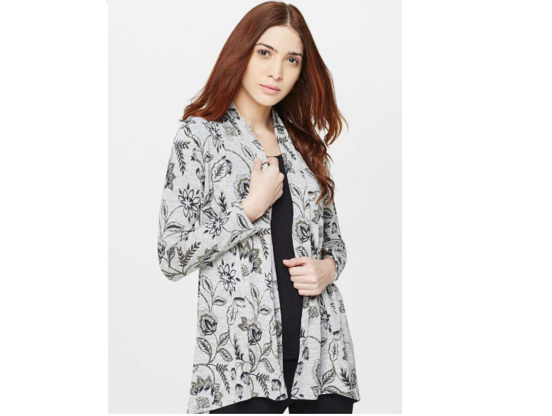 Grey And Black Printed Shrug by AND