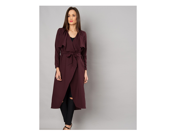 Wine Belted Waterfall Longline Shrug by Faballey