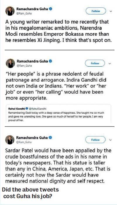 Did the above tweets cost Guha his job?