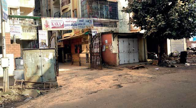 Shoot at Rudra Prayag Flats in Ranip; the freshly paved road at the society