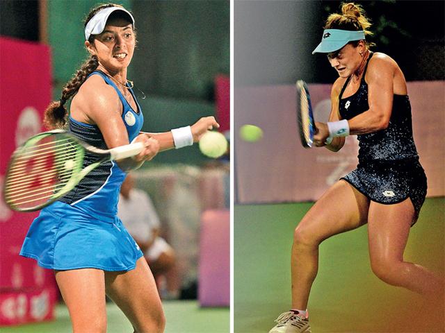 Ankita Raina returns to Danka Kovinic (right) during yesterday's Mumbai Open match at CCI