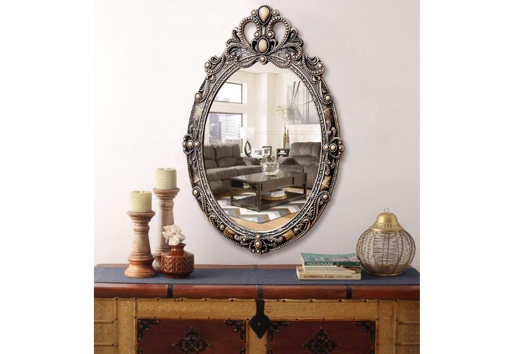 Vintage style wooden Vanity wall Mirror
