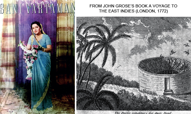 Jeejeebhoy's writings were published in Anglo-Gujarati periodicals such as Sanj Vartaman and Kaiser-i-Hind; (R) A depiction of the Parsi Tower of Silence at Bombay. Jeejeebhoy documented the community's history and cultural reforms