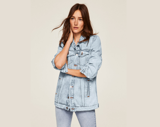 MANGO Women Blue Solid Denim Jacket