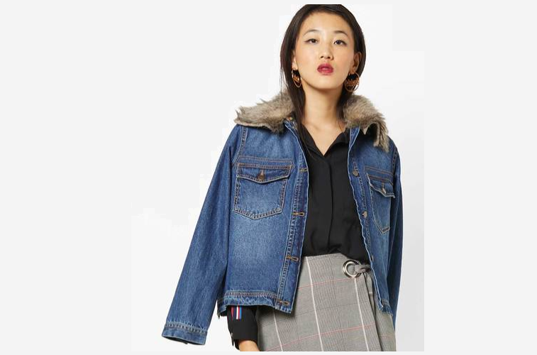 Washed Denim Jacket with Faux-Fur Collar