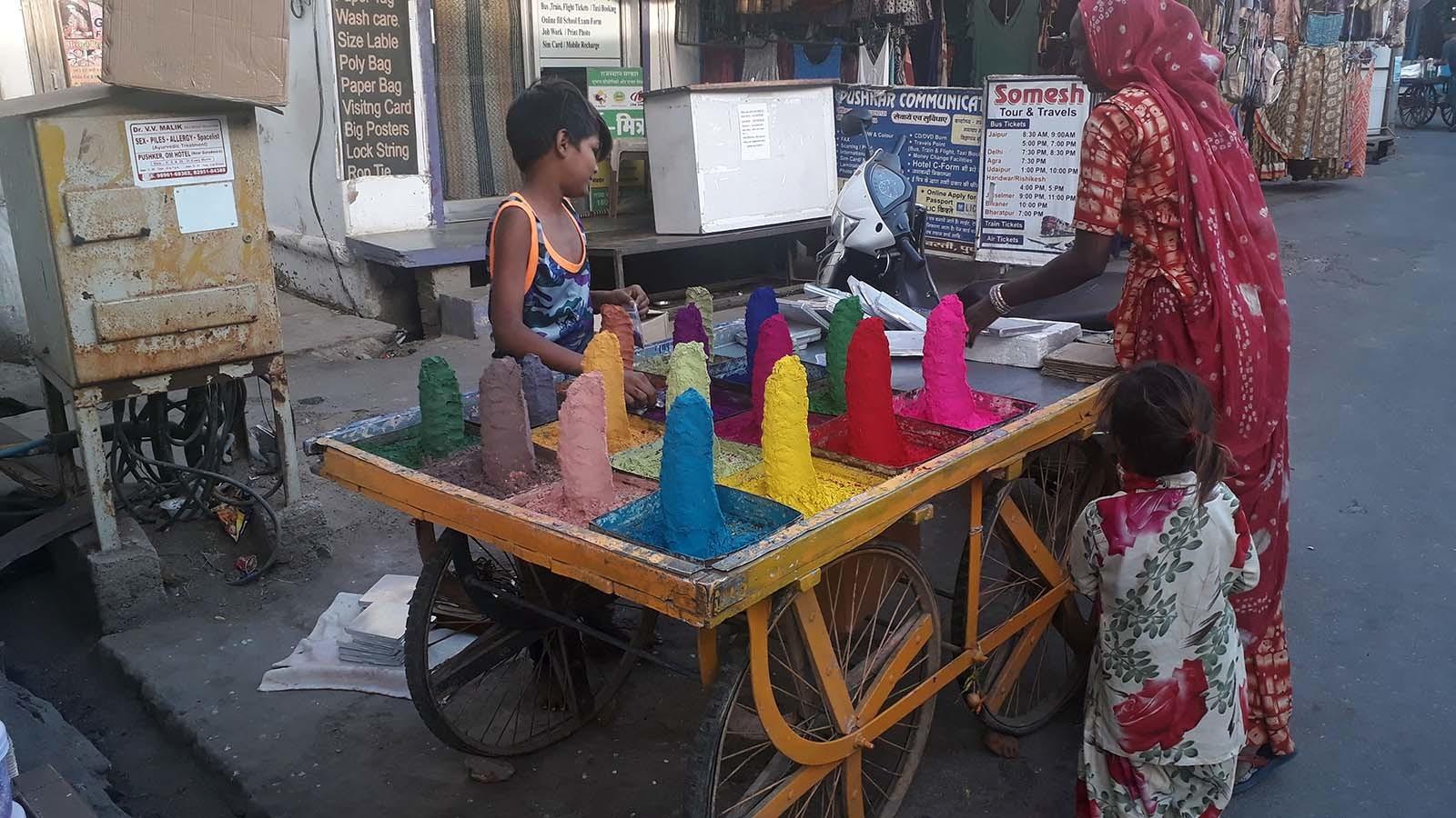 A stall in Pushkar bazaar