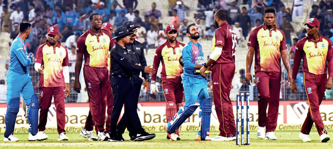 India outbowled the West Indies in the T20I at Eden Gardens; PIC: DEBAJYOTI CHAKRABORTY