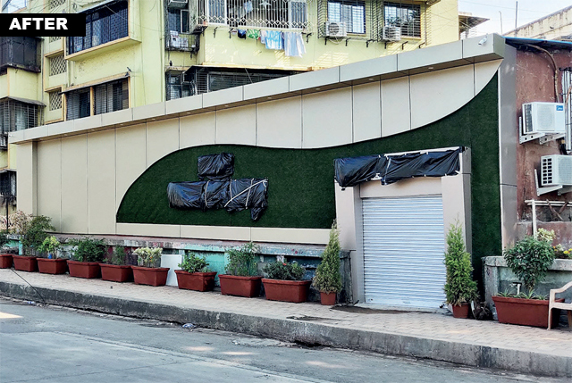 DAY BEFORE OPENING... On Monday, the huge sign of Hotel Wadala Garden Inn was covered up with sheets and furniture was removed