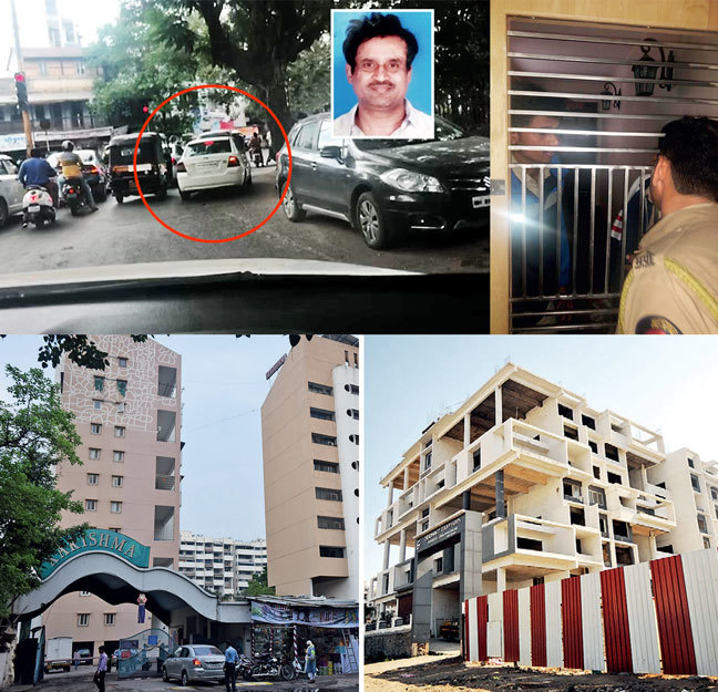 Homebuyers tailed the car in which Patil (inset) was being taken from court; the vehicle went straight to his residence at Karishma Society instead of jail; once Alankar cops arrived at his home, Patil's family refused to open the door; (below right) Baner project in which Patil has allegedly sold non existing flats