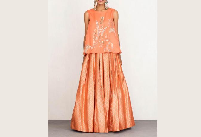 DEVNAAGRI Orange Skirt with Embroidered Top