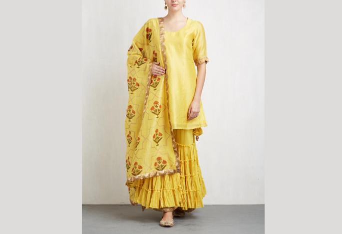 NEH Yellow Double Layer Sharara Set
