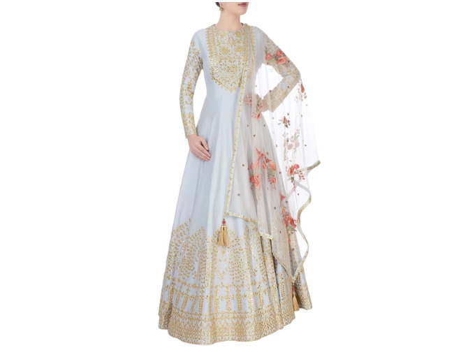 MATSYA Grey anarkali with floral embroidery
