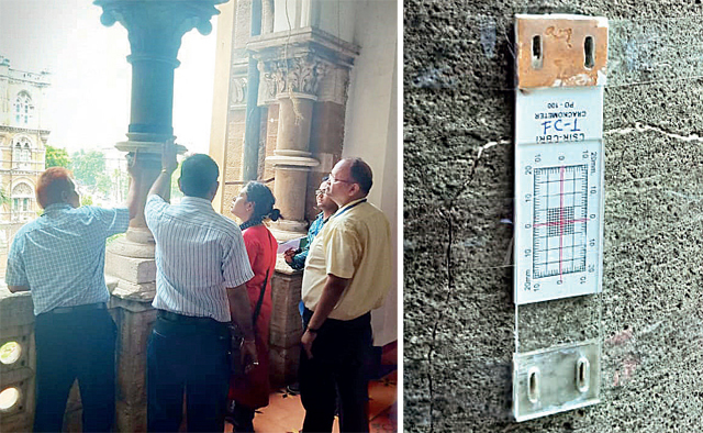 The experts are studying each aspect of the CSMT building to find how its life can be extended; (right) an instrument assessing the condition of cracks