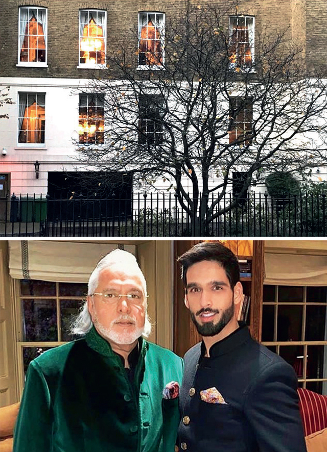 Vijay Mallya with Sidhartha in London; (above) their home across Regent's Park