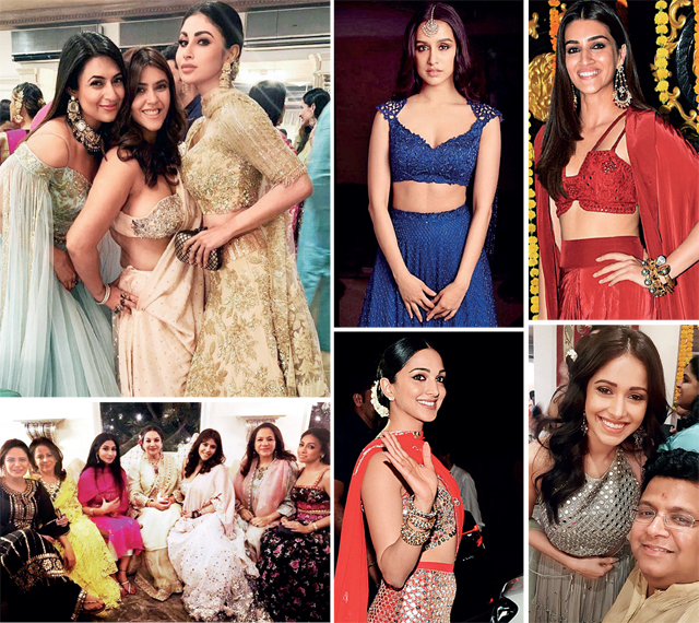 From top left: Ekta Kapoor with her guests, Mouni Roy and Divyanka Tripathi catch up with the hostess, Shraddha Kapoor turns up in a Kresha Bajaj outfit; Kriti Sanon stood out in red, Kiara Advani arrives, Nushrat Bharucha struck a pose with Tanuj Garg