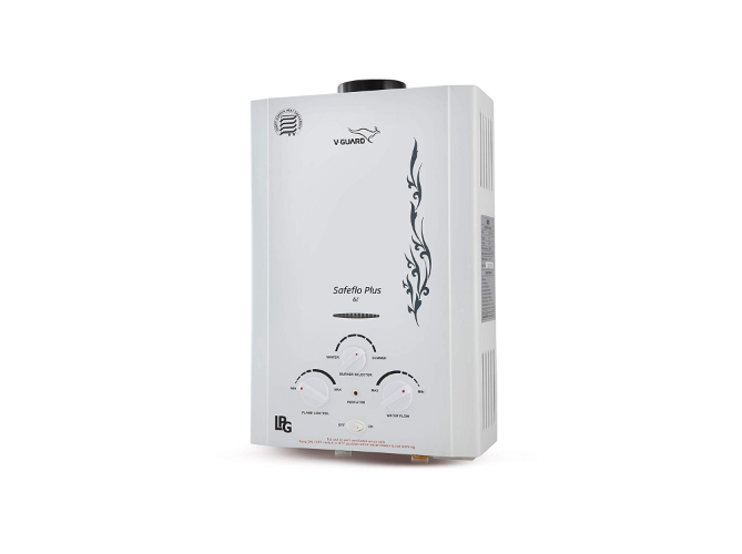 V-guard 6 L Safefloplus Gas Geyser(White)