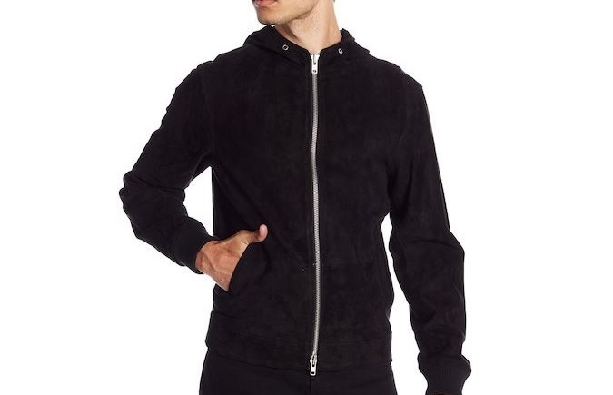 Nordstrom Rack Suede Hooded Zip Up Jacket