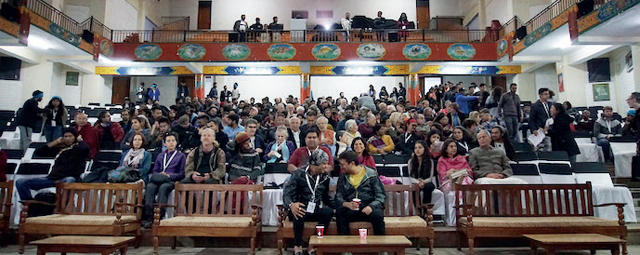 People attend the Dharamshala International Film Festival
