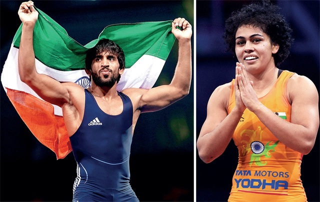 Bajrang Punia won gold at the Jakarta Asian Games, but ended up with silver in World Championships. (Right) Women's 57kg grappler Pooja Dhanda is ranked sixth in the world