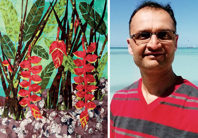 Hanging Heliconia (above) is an award-winning collage by Dr Dattatreya Sudarshan Phadke (right)