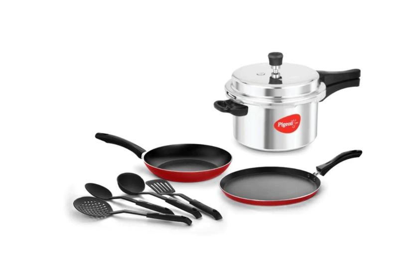 Pigeon 5 L Pressure Cooker + Pigeon 6 Pcs Cookware Set Combo