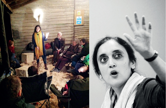 Storyteller Gauri Raje uses stories as a tool to build bridges; (left) Telling stories in a barn in Oxford