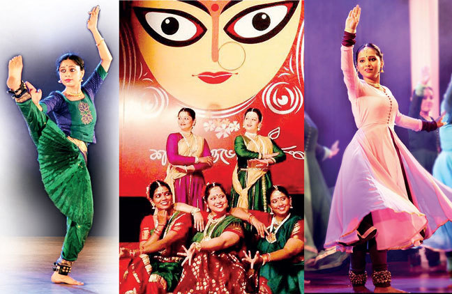 Neha Mujumar composed and choreographed a performance on euthanasia; Amala Reddie (bottom, far right) celebrated woman power through a performance during Durga puja; For Purva Deshpande, her dance performance for HIV remains special