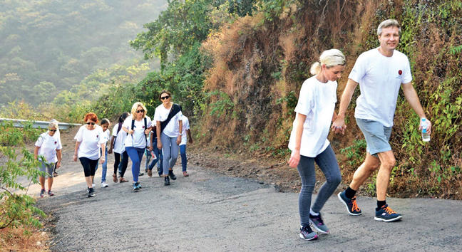 Participants last year (left) on the walk that stretches for a few kilometres, and connects K arla Caves, Bhaja Caves and Bedse Caves. It also covers Lohagad Fort (above)