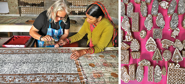 The blocks of motifs are carved from wood (right) and an artisan in Bagru teaching the craft (left)
