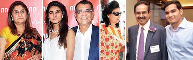 (L) Anjali and Rajen Mariwala with Anandita; (R) Nina Kothari, Arjun Kothari with his dad