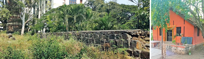 A portion of the Ramana's eastern wall and a Ganesh temple (Right) are what remain of the enclosure built in the latter half of 18th century