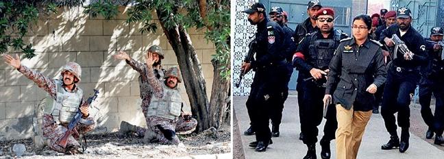 Senior Superintendent of Police Suhai Aziz Talpur (R) led the security operation against the militants