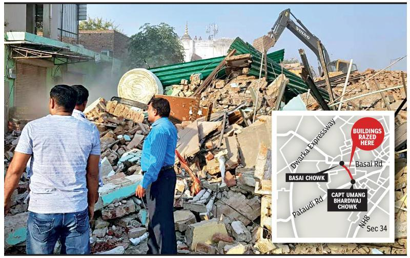 Huda razes 16 structures for road linking NH8 with Dwarka expressway