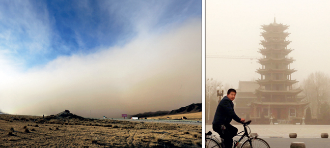 Such storms regularly occur in China in the dry season, when winds blow loose, dry soil and sand into urban areas from the Gobi desert, coating cities in a layer of yellow grime