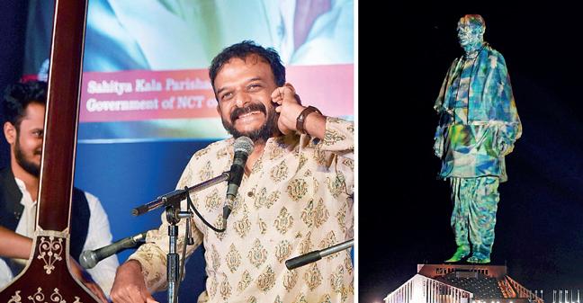 TM Krishna singing at the Awam ki Awaz concert; (right) Statue of Unity