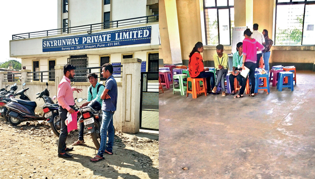 Several youth were found being 'trained' at the premises of the company on Wednesday; PIC: RAHUL DESHMUKH