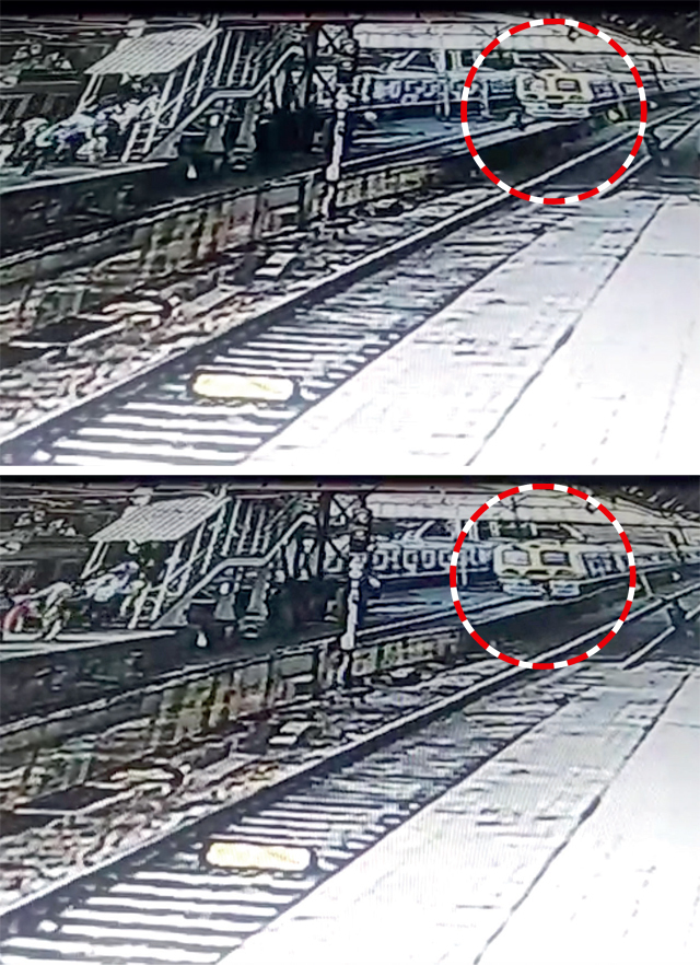 A Churchgate-bound train approaches the station at around 4.39 pm, two women can be seen running towards it before it enters the platform. One of them tries to pull the other back. And when the train comes too close, she even tries to push her out of the way. But they are both hit by it