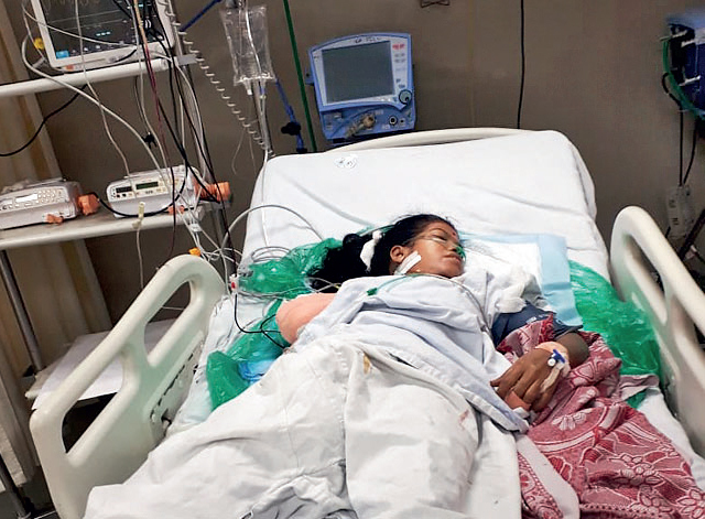 Sunita (above) lost her right arm while the minor sustained injuries to her head and eyes